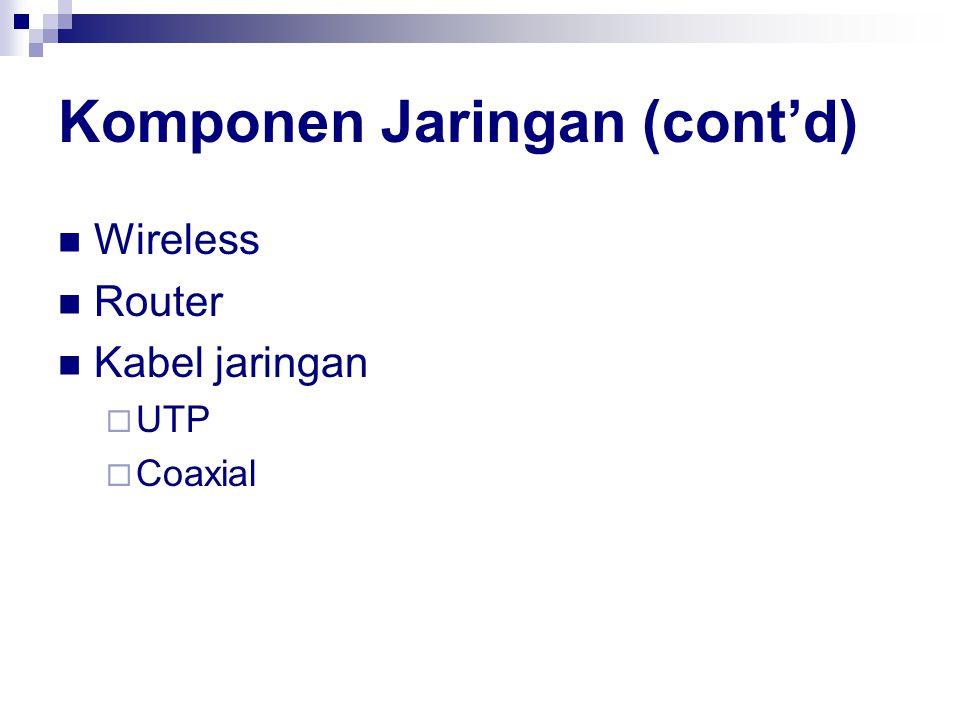 Komponen Jaringan (cont'd) Wireless Router Kabel jaringan  UTP  Coaxial