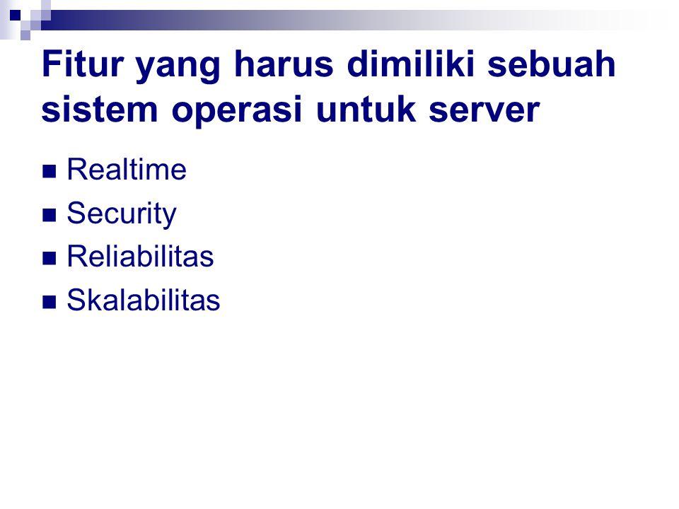 Fitur yang harus dimiliki sebuah sistem operasi untuk server Realtime Security Reliabilitas Skalabilitas