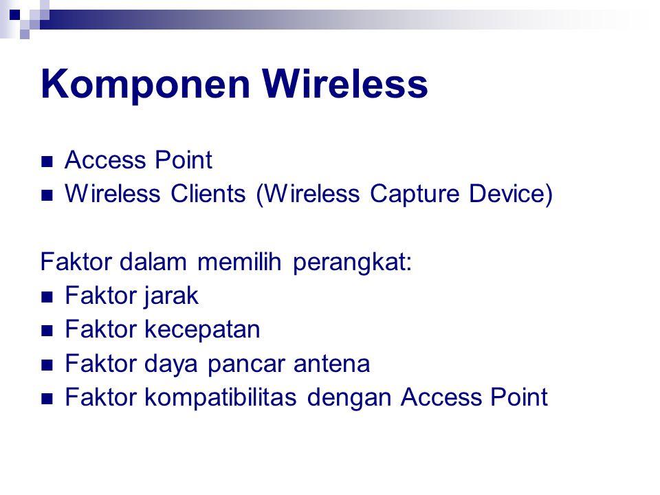 Komponen Wireless Access Point Wireless Clients (Wireless Capture Device) Faktor dalam memilih perangkat: Faktor jarak Faktor kecepatan Faktor daya pa