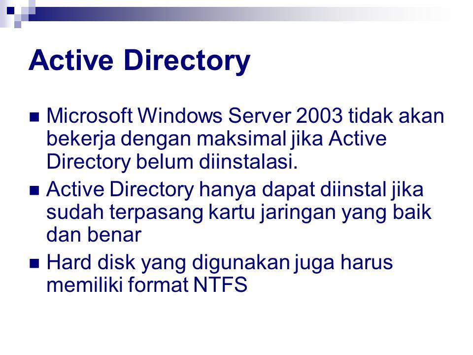 Active Directory Microsoft Windows Server 2003 tidak akan bekerja dengan maksimal jika Active Directory belum diinstalasi. Active Directory hanya dapa