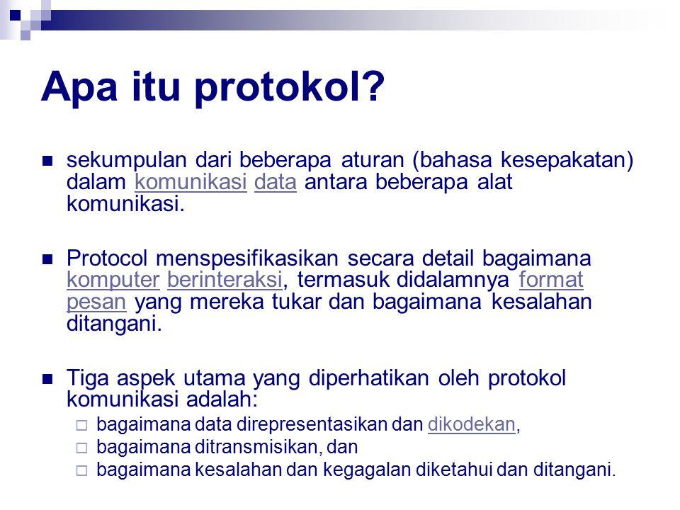 Apa itu protokol? sekumpulan dari beberapa aturan (bahasa kesepakatan) dalam komunikasi data antara beberapa alat komunikasi.komunikasidata Protocol m