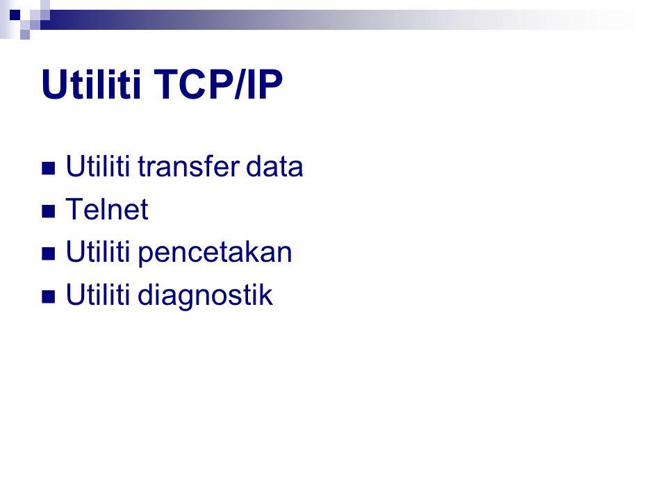 Utiliti TCP/IP Utiliti transfer data Telnet Utiliti pencetakan Utiliti diagnostik