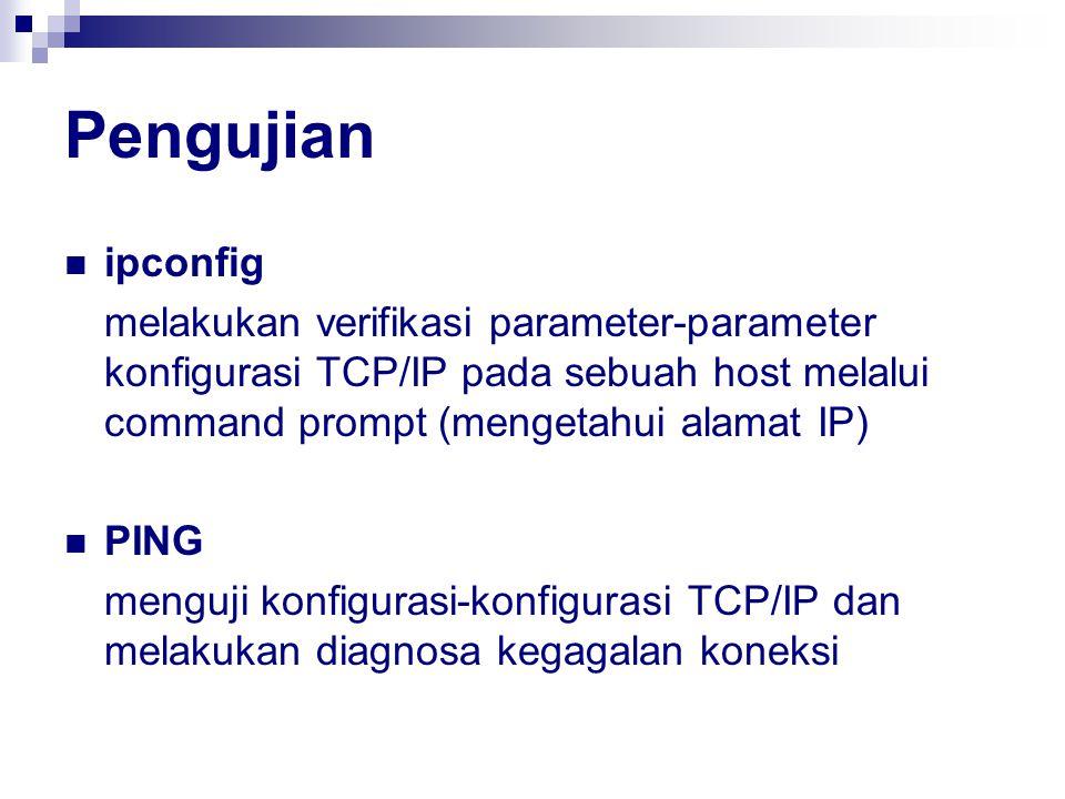 Pengujian ipconfig melakukan verifikasi parameter-parameter konfigurasi TCP/IP pada sebuah host melalui command prompt (mengetahui alamat IP) PING men