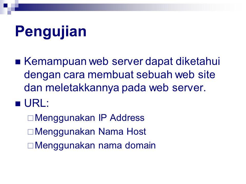 Pengujian Kemampuan web server dapat diketahui dengan cara membuat sebuah web site dan meletakkannya pada web server. URL:  Menggunakan IP Address 