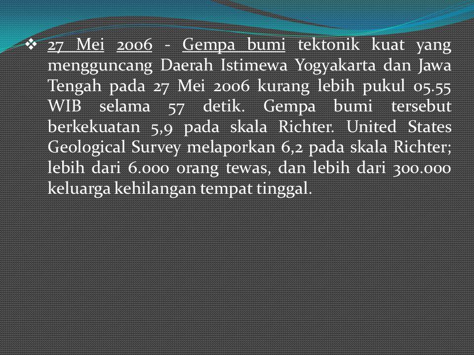  3 Januari 2009 – Gempa Bumi berkekuatan 7,6 Skala Richter di Papua.  12 Mei 2008 - Gempa Bumi berkekuatan 7,8 Skala Richter di Provinsi Shichuan, C