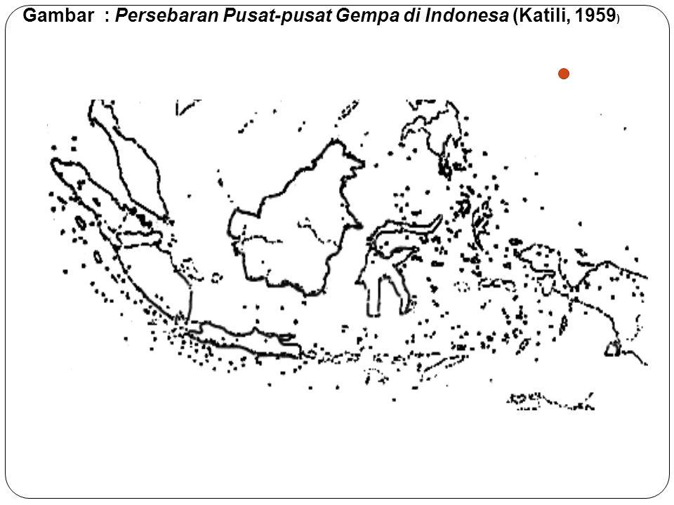 Gambar : Persebaran Pusat-pusat Gempa di Indonesa (Katili, 1959 )