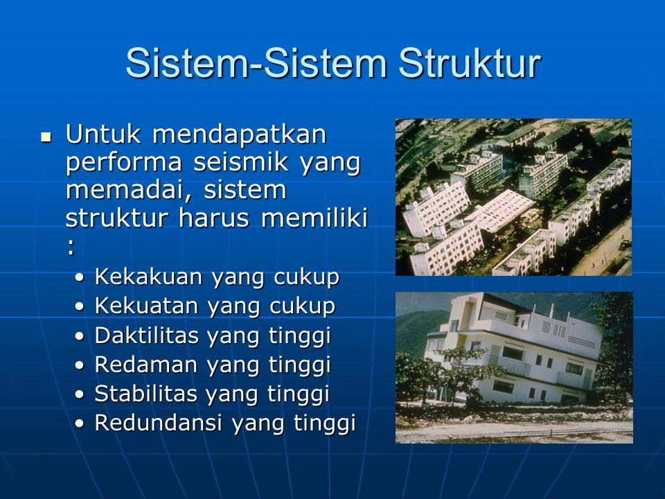 Sistem-Sistem Struktur Untuk mendapatkan performa seismik yang memadai, sistem struktur harus memiliki : Untuk mendapatkan performa seismik yang memadai, sistem struktur harus memiliki : Kekakuan yang cukupKekakuan yang cukup Kekuatan yang cukupKekuatan yang cukup Daktilitas yang tinggiDaktilitas yang tinggi Redaman yang tinggiRedaman yang tinggi Stabilitas yang tinggiStabilitas yang tinggi Redundansi yang tinggiRedundansi yang tinggi