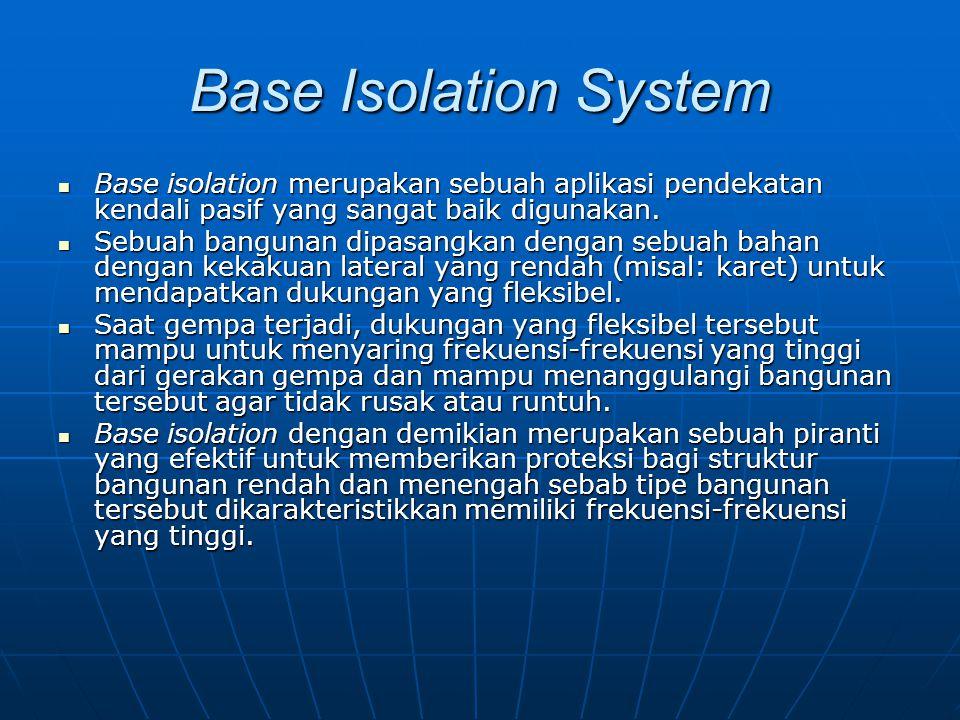 Base Isolation System Base isolation merupakan sebuah aplikasi pendekatan kendali pasif yang sangat baik digunakan. Base isolation merupakan sebuah ap