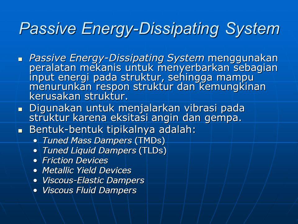 Passive Energy-Dissipating System Passive Energy-Dissipating System menggunakan peralatan mekanis untuk menyerbarkan sebagian input energi pada struktur, sehingga mampu menurunkan respon struktur dan kemungkinan kerusakan struktur.