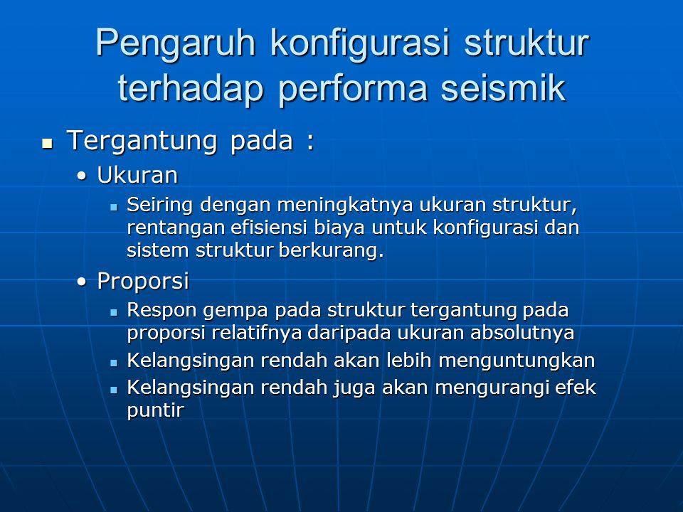 Pengaruh konfigurasi struktur terhadap performa seismik Tergantung pada : Tergantung pada : UkuranUkuran Seiring dengan meningkatnya ukuran struktur,