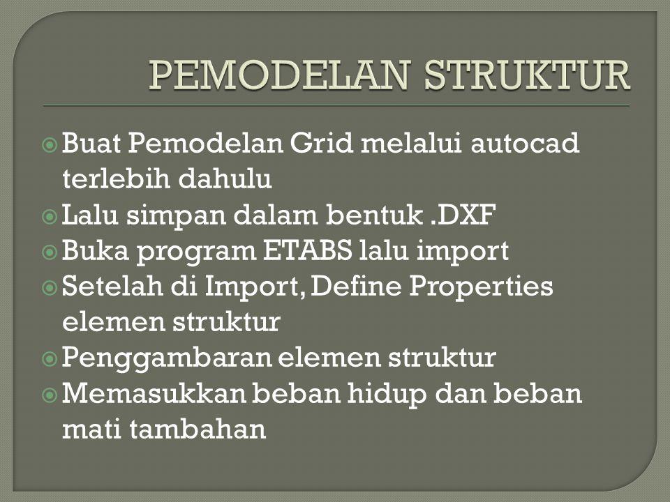  Buat Pemodelan Grid melalui autocad terlebih dahulu  Lalu simpan dalam bentuk.DXF  Buka program ETABS lalu import  Setelah di Import, Define Prop