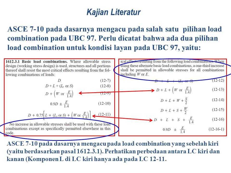 Kajian Literatur ASCE 7-10 pada dasarnya mengacu pada salah satu pilihan load combination pada UBC 97. Perlu dicatat bahwa ada dua pilihan load combin