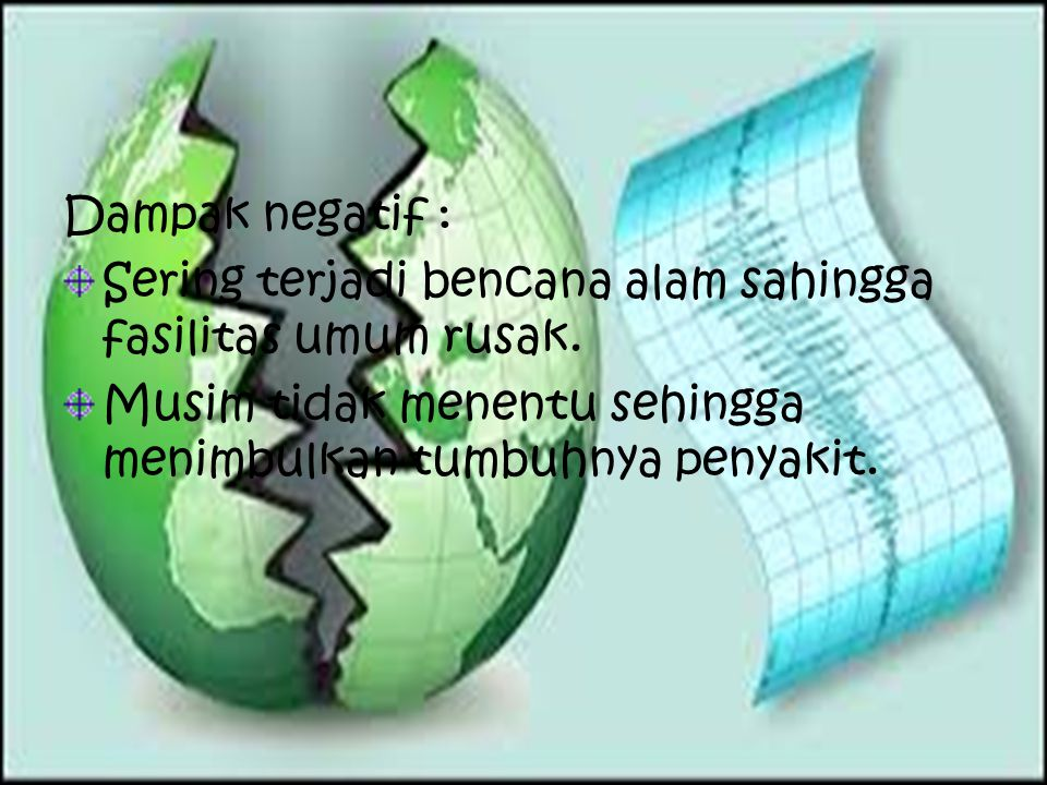 Aspek Sosial Dampak positif : Pendapatan masyarakat meningkat dikarenakan suburnya tanah.