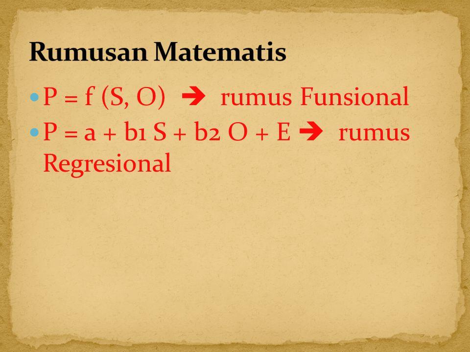 P = f (S, O)  rumus Funsional P = a + b1 S + b2 O + E  rumus Regresional