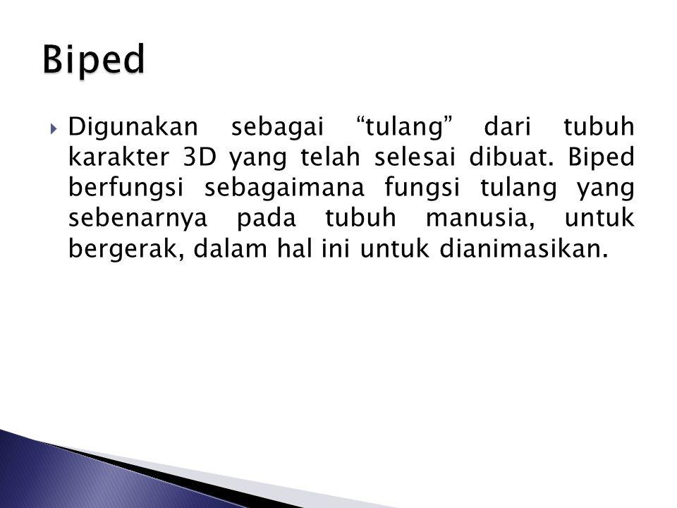  Digunakan sebagai tulang dari tubuh karakter 3D yang telah selesai dibuat.