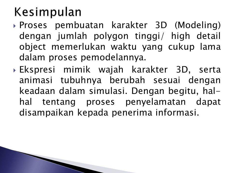  Proses pembuatan karakter 3D (Modeling) dengan jumlah polygon tinggi/ high detail object memerlukan waktu yang cukup lama dalam proses pemodelannya.