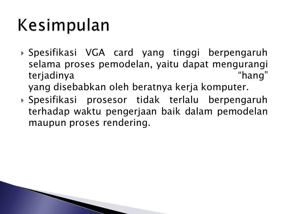  Spesifikasi VGA card yang tinggi berpengaruh selama proses pemodelan, yaitu dapat mengurangi terjadinya hang yang disebabkan oleh beratnya kerja komputer.