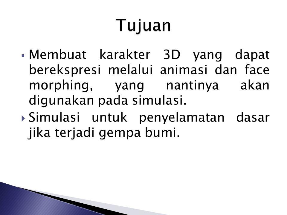  Membuat karakter 3D yang dapat berekspresi melalui animasi dan face morphing, yang nantinya akan digunakan pada simulasi.