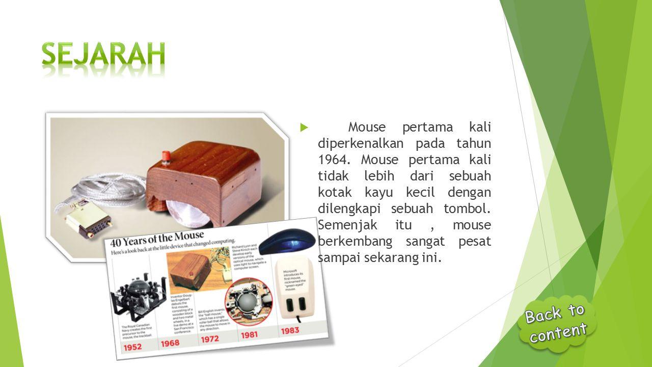  Mouse pertama kali diperkenalkan pada tahun 1964. Mouse pertama kali tidak lebih dari sebuah kotak kayu kecil dengan dilengkapi sebuah tombol. Semen