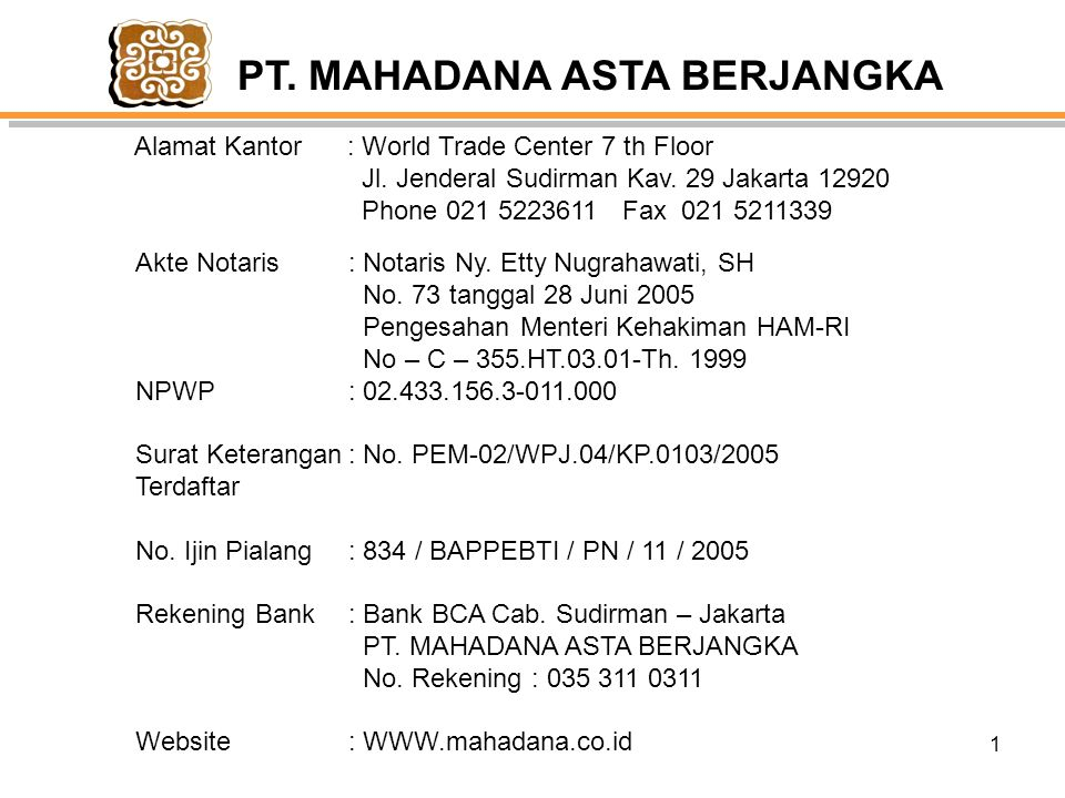 1 PT.MAHADANA ASTA BERJANGKA Alamat Kantor : World Trade Center 7 th Floor Jl.