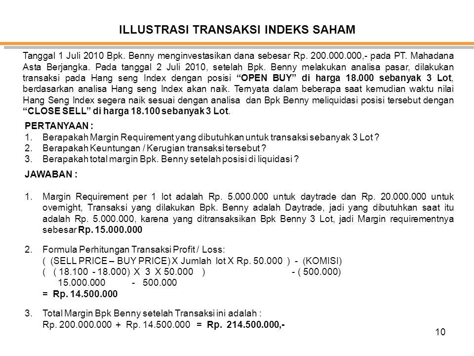 10 ILLUSTRASI TRANSAKSI INDEKS SAHAM Tanggal 1 Juli 2010 Bpk. Benny menginvestasikan dana sebesar Rp. 200.000.000,- pada PT. Mahadana Asta Berjangka.