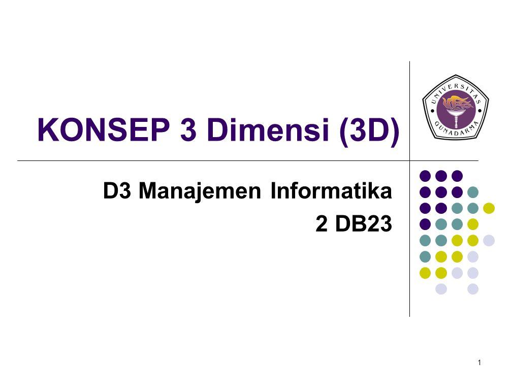 1 KONSEP 3 Dimensi (3D) D3 Manajemen Informatika 2 DB23