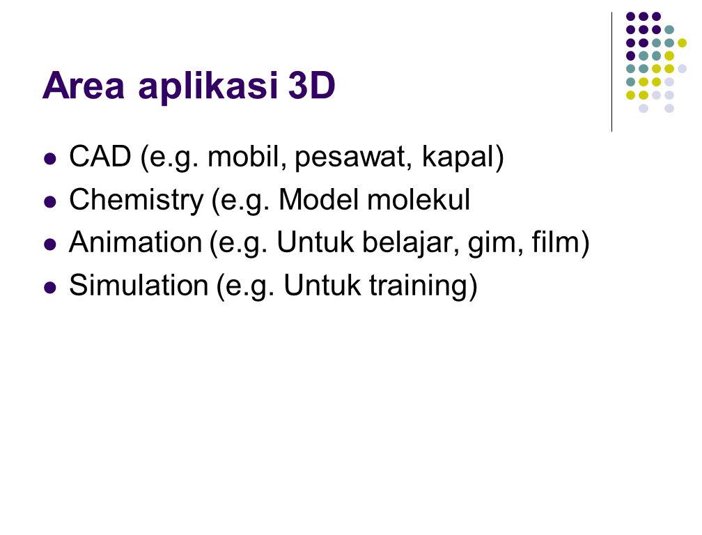 Area aplikasi 3D CAD (e.g.mobil, pesawat, kapal) Chemistry (e.g.