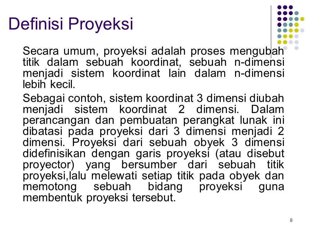 8 Definisi Proyeksi Secara umum, proyeksi adalah proses mengubah titik dalam sebuah koordinat, sebuah n-dimensi menjadi sistem koordinat lain dalam n-dimensi lebih kecil.