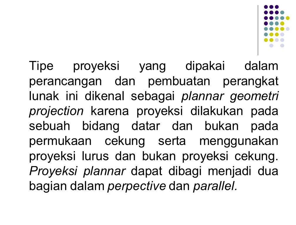 Tipe proyeksi yang dipakai dalam perancangan dan pembuatan perangkat lunak ini dikenal sebagai plannar geometri projection karena proyeksi dilakukan pada sebuah bidang datar dan bukan pada permukaan cekung serta menggunakan proyeksi lurus dan bukan proyeksi cekung.