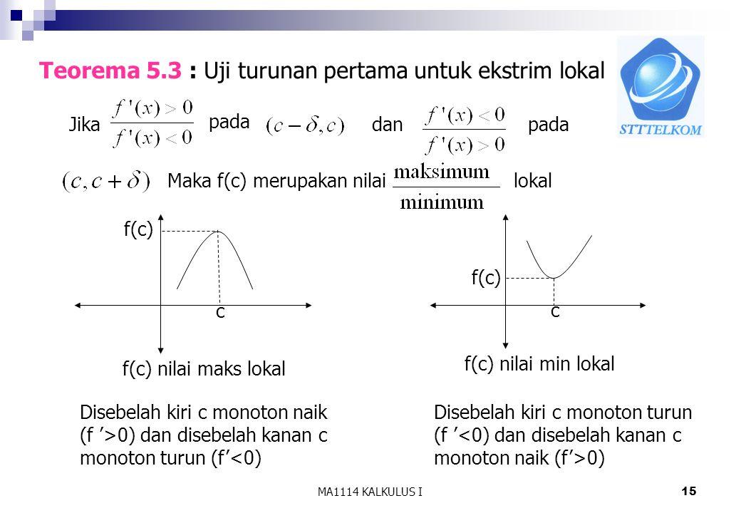 MA1114 KALKULUS I15 Teorema 5.3 : Uji turunan pertama untuk ekstrim lokal Jika pada danpada Maka f(c) merupakan nilailokal c Disebelah kiri c monoton