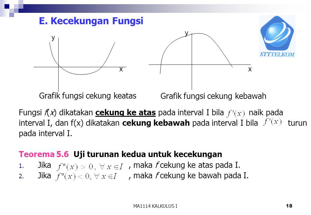 MA1114 KALKULUS I18 E. Kecekungan Fungsi Fungsi f(x) dikatakan cekung ke atas pada interval I bila naik pada interval I, dan f(x) dikatakan cekung keb