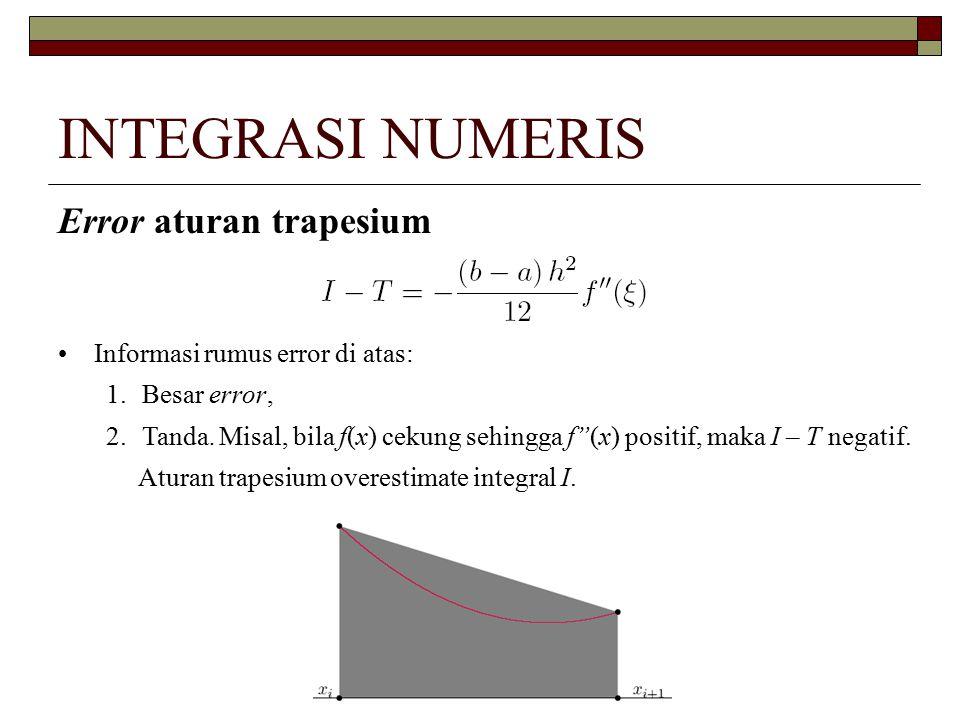 "INTEGRASI NUMERIS Error aturan trapesium Informasi rumus error di atas: 1.Besar error, 2.Tanda. Misal, bila f(x) cekung sehingga f""(x) positif, maka I"