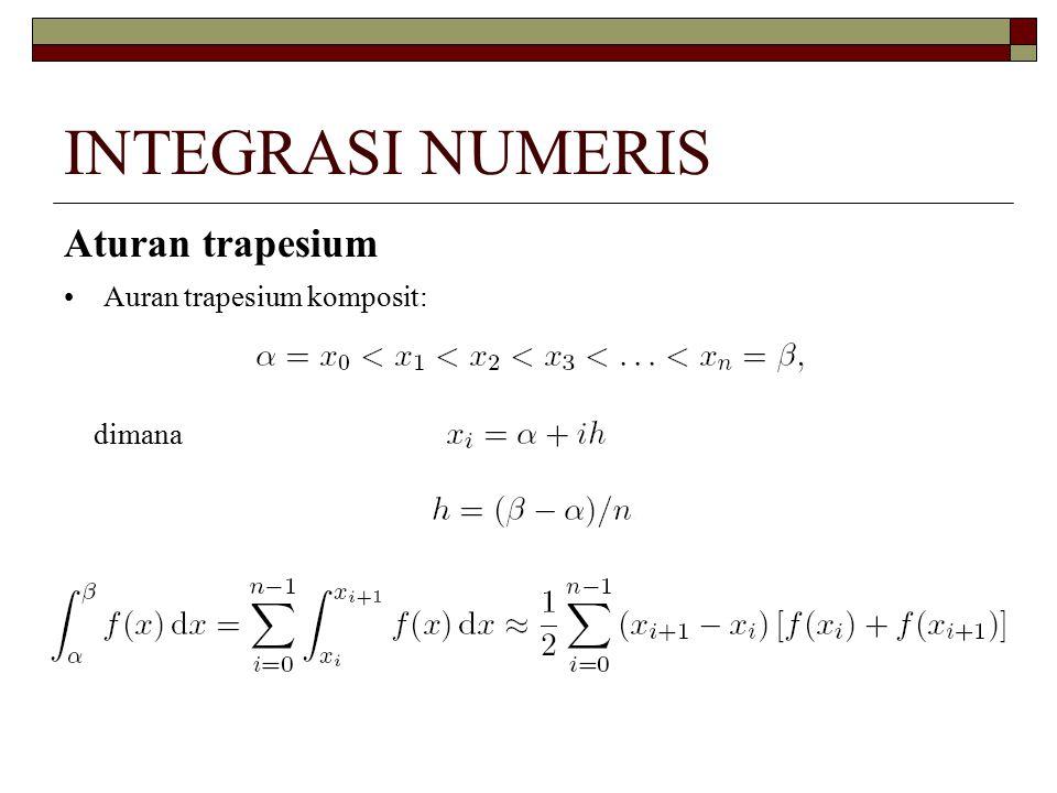 INTEGRASI NUMERIS Aturan trapesium Karena setiap subinterval memiliki lebar yang sama,