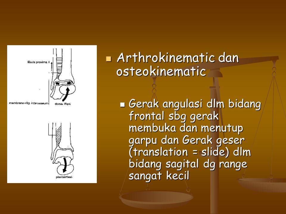 Arthrokinematic dan osteokinematic Arthrokinematic dan osteokinematic Gerak angulasi dlm bidang frontal sbg gerak membuka dan menutup garpu dan Gerak