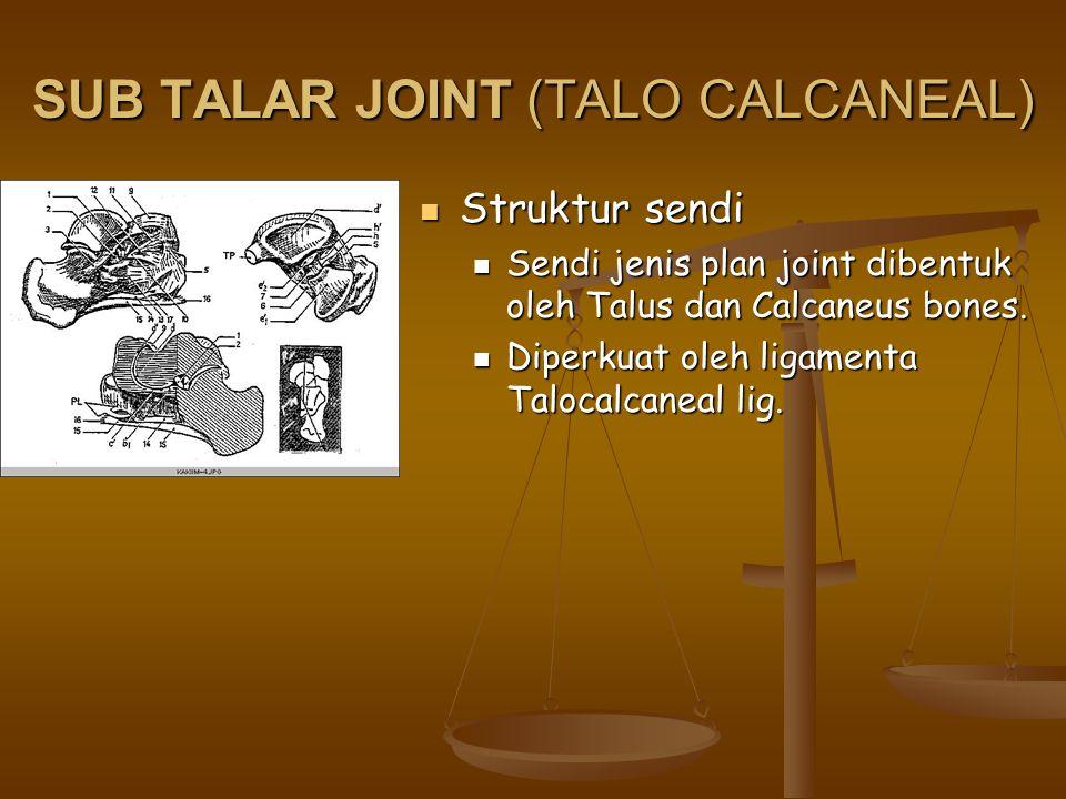 SUB TALAR JOINT (TALO CALCANEAL) Struktur sendi Struktur sendi Sendi jenis plan joint dibentuk oleh Talus dan Calcaneus bones. Sendi jenis plan joint