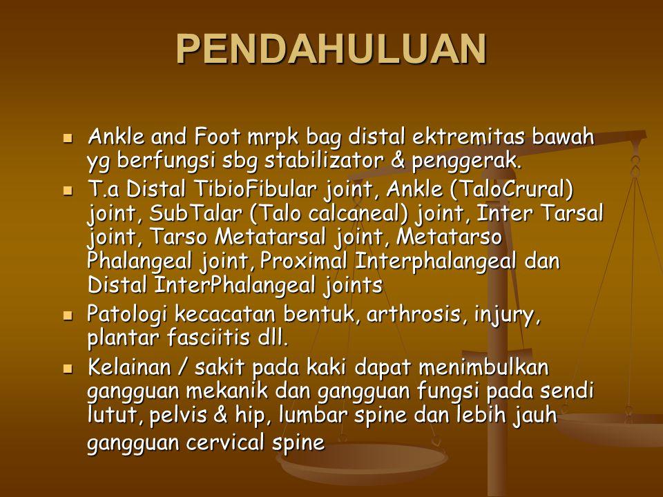 PENDAHULUAN Ankle and Foot mrpk bag distal ektremitas bawah yg berfungsi sbg stabilizator & penggerak. Ankle and Foot mrpk bag distal ektremitas bawah