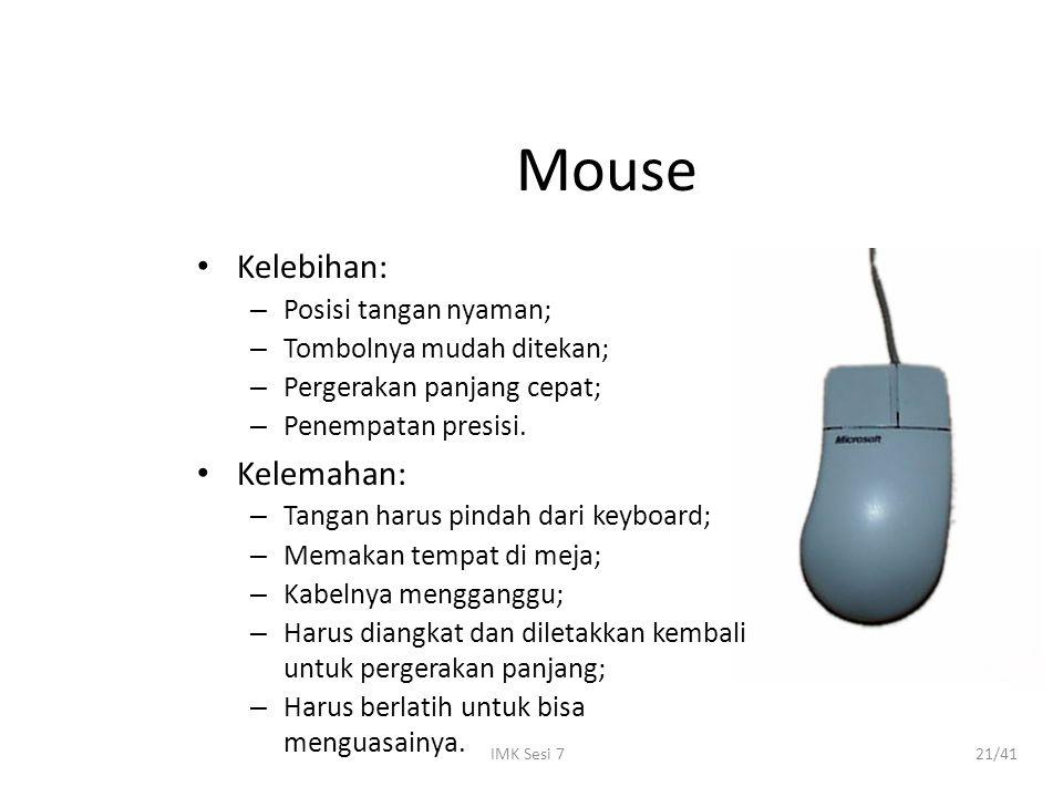 IMK Sesi 721/41 Mouse Kelebihan: – Posisi tangan nyaman; – Tombolnya mudah ditekan; – Pergerakan panjang cepat; – Penempatan presisi. Kelemahan: – Tan