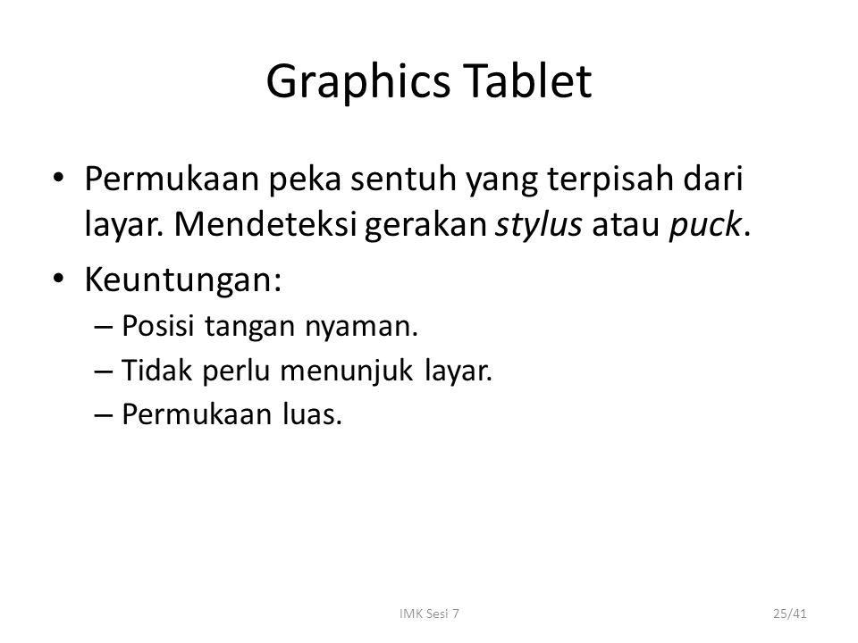 IMK Sesi 725/41 Graphics Tablet Permukaan peka sentuh yang terpisah dari layar. Mendeteksi gerakan stylus atau puck. Keuntungan: – Posisi tangan nyama