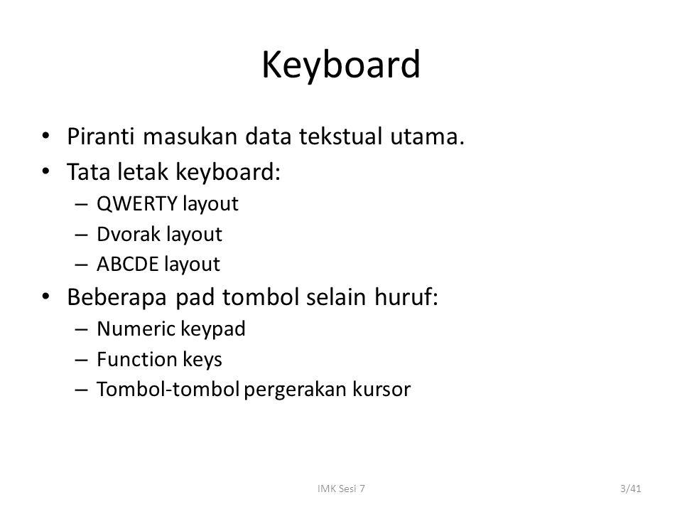 IMK Sesi 73/41 Keyboard Piranti masukan data tekstual utama. Tata letak keyboard: – QWERTY layout – Dvorak layout – ABCDE layout Beberapa pad tombol s
