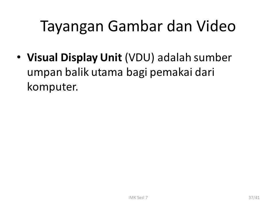 IMK Sesi 737/41 Tayangan Gambar dan Video Visual Display Unit (VDU) adalah sumber umpan balik utama bagi pemakai dari komputer.