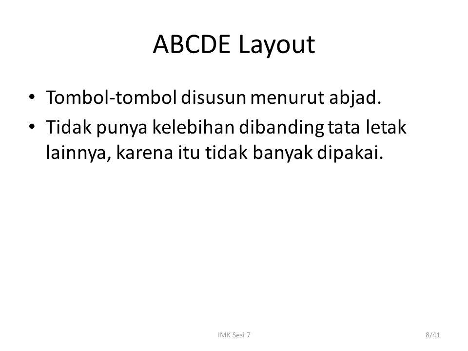 IMK Sesi 78/41 ABCDE Layout Tombol-tombol disusun menurut abjad. Tidak punya kelebihan dibanding tata letak lainnya, karena itu tidak banyak dipakai.