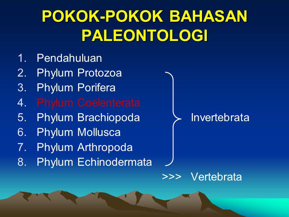 POKOK-POKOK BAHASAN PALEONTOLOGI 1.Pendahuluan 2.Phylum Protozoa 3.Phylum Porifera 4.Phylum Coelenterata 5.Phylum BrachiopodaInvertebrata 6.Phylum Mollusca 7.Phylum Arthropoda 8.Phylum Echinodermata >>>Vertebrata