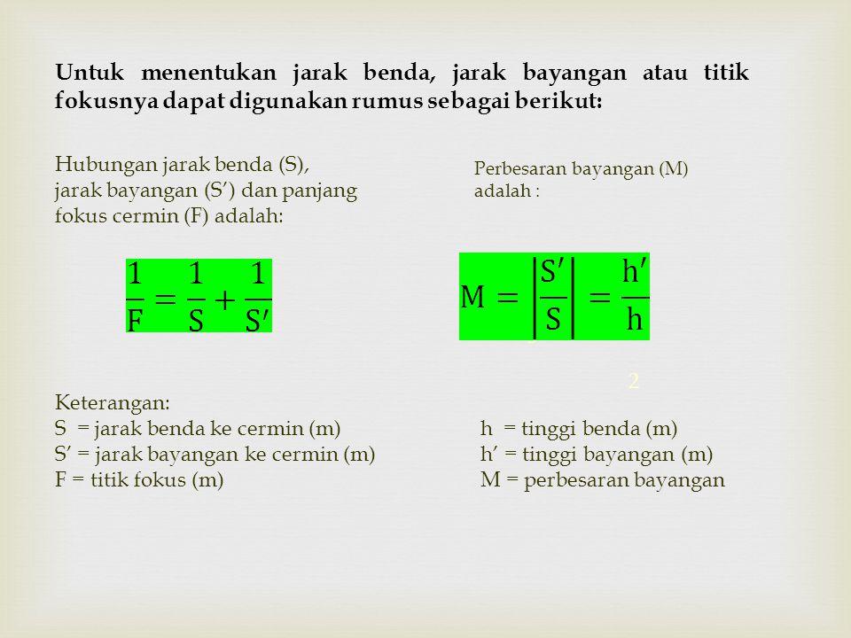 1 2 3 Perbesaran bayangan (M) adalah : Hubungan jarak benda (S), jarak bayangan (S') dan panjang fokus cermin (F) adalah: Keterangan: S = jarak benda