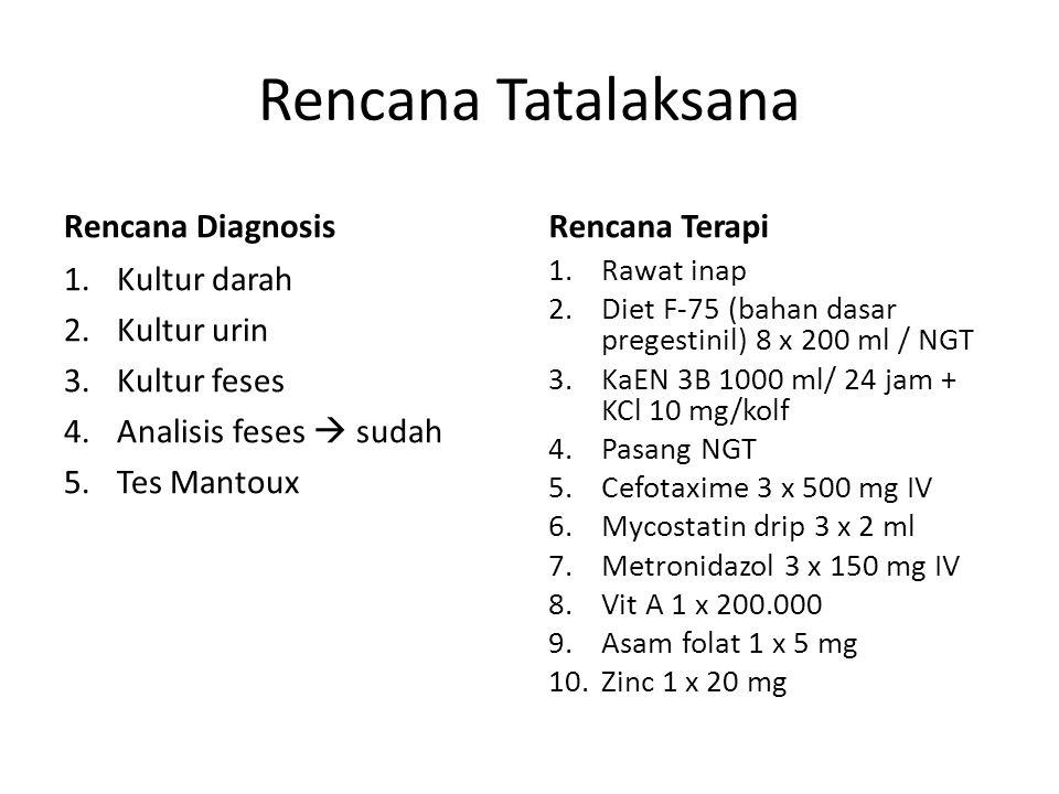 Rencana Tatalaksana Rencana Diagnosis 1.Kultur darah 2.Kultur urin 3.Kultur feses 4.Analisis feses  sudah 5.Tes Mantoux Rencana Terapi 1.Rawat inap 2.Diet F-75 (bahan dasar pregestinil) 8 x 200 ml / NGT 3.KaEN 3B 1000 ml/ 24 jam + KCl 10 mg/kolf 4.Pasang NGT 5.Cefotaxime 3 x 500 mg IV 6.Mycostatin drip 3 x 2 ml 7.Metronidazol 3 x 150 mg IV 8.Vit A 1 x 200.000 9.Asam folat 1 x 5 mg 10.Zinc 1 x 20 mg
