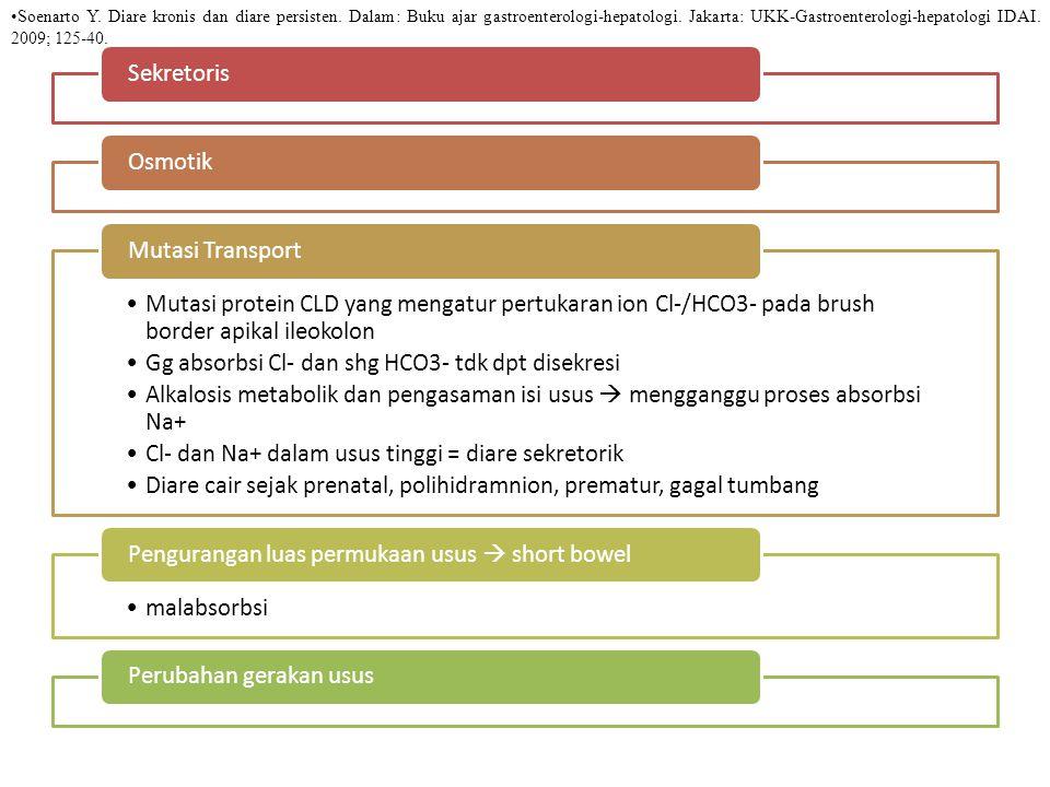 SekretorisOsmotik Mutasi protein CLD yang mengatur pertukaran ion Cl-/HCO3- pada brush border apikal ileokolon Gg absorbsi Cl- dan shg HCO3- tdk dpt disekresi Alkalosis metabolik dan pengasaman isi usus  mengganggu proses absorbsi Na+ Cl- dan Na+ dalam usus tinggi = diare sekretorik Diare cair sejak prenatal, polihidramnion, prematur, gagal tumbang Mutasi Transport malabsorbsi Pengurangan luas permukaan usus  short bowelPerubahan gerakan usus Soenarto Y.