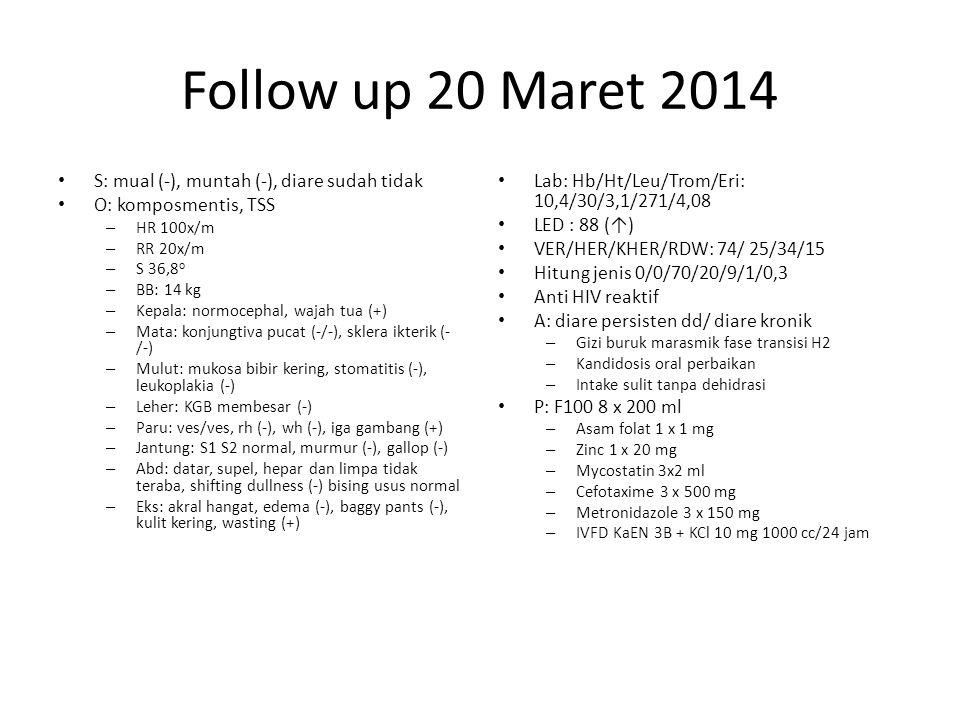 Follow up 20 Maret 2014 S: mual (-), muntah (-), diare sudah tidak O: komposmentis, TSS – HR 100x/m – RR 20x/m – S 36,8 o – BB: 14 kg – Kepala: normocephal, wajah tua (+) – Mata: konjungtiva pucat (-/-), sklera ikterik (- /-) – Mulut: mukosa bibir kering, stomatitis (-), leukoplakia (-) – Leher: KGB membesar (-) – Paru: ves/ves, rh (-), wh (-), iga gambang (+) – Jantung: S1 S2 normal, murmur (-), gallop (-) – Abd: datar, supel, hepar dan limpa tidak teraba, shifting dullness (-) bising usus normal – Eks: akral hangat, edema (-), baggy pants (-), kulit kering, wasting (+) Lab: Hb/Ht/Leu/Trom/Eri: 10,4/30/3,1/271/4,08 LED : 88 (↑) VER/HER/KHER/RDW: 74/ 25/34/15 Hitung jenis 0/0/70/20/9/1/0,3 Anti HIV reaktif A: diare persisten dd/ diare kronik – Gizi buruk marasmik fase transisi H2 – Kandidosis oral perbaikan – Intake sulit tanpa dehidrasi P: F100 8 x 200 ml – Asam folat 1 x 1 mg – Zinc 1 x 20 mg – Mycostatin 3x2 ml – Cefotaxime 3 x 500 mg – Metronidazole 3 x 150 mg – IVFD KaEN 3B + KCl 10 mg 1000 cc/24 jam