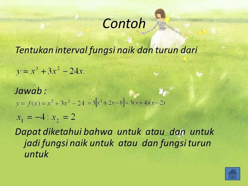 Contoh Tentukan interval fungsi naik dan turun dari Jawab : Dapat diketahui bahwa untuk atau dan untuk jadi fungsi naik untuk atau dan fungsi turun un