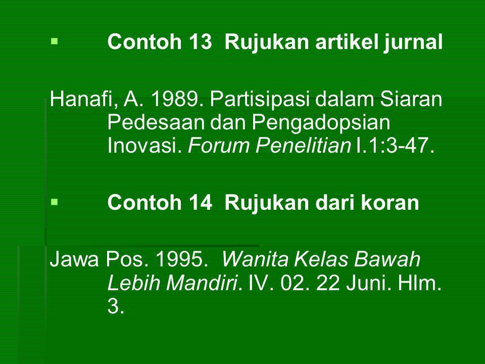   Contoh 13 Rujukan artikel jurnal Hanafi, A. 1989. Partisipasi dalam Siaran Pedesaan dan Pengadopsian Inovasi. Forum Penelitian I.1:3-47.   Conto