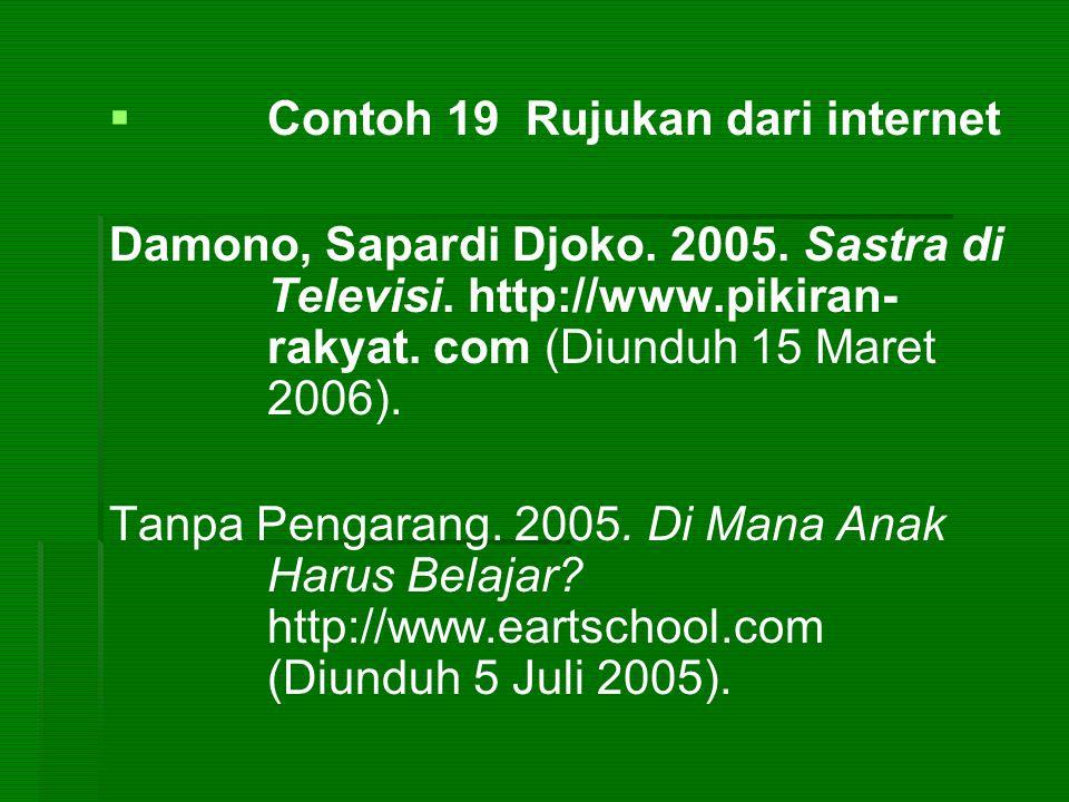   Contoh 19 Rujukan dari internet Damono, Sapardi Djoko. 2005. Sastra di Televisi. http://www.pikiran- rakyat. com (Diunduh 15 Maret 2006). Tanpa Pe