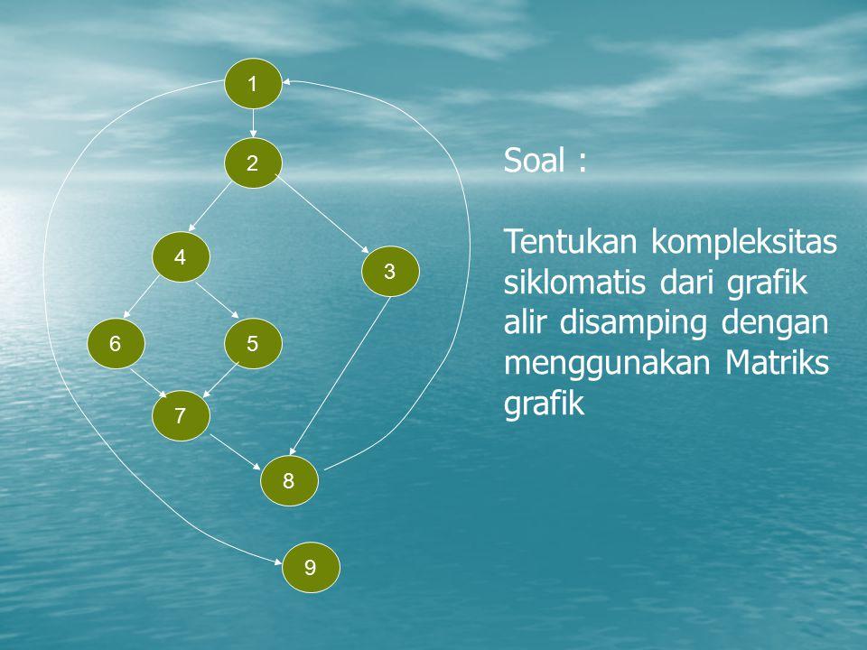 1 9 3 2 8 7 56 4 Soal : Tentukan kompleksitas siklomatis dari grafik alir disamping dengan menggunakan Matriks grafik